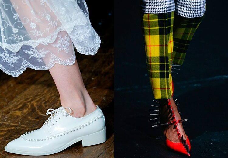 Без шипов снова никуда, некоторые модели обуви украшены ими вдоль и поперёк. Шипами покрылся даже нежный атлас, а также строгие модели оксфордов. Красота!