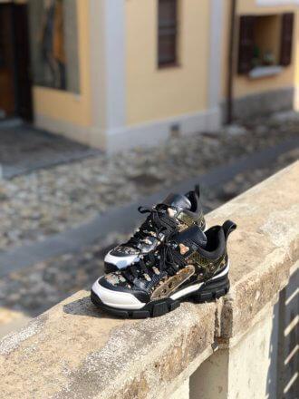 Массивные кроссовки из натуральной кожи и производство Италия